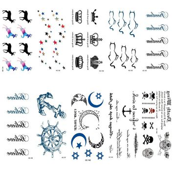 HC126-150 Waterproof Temporary Tattoo Stickers Imperial Crown Love Anchor Fake Tattoo Small Scars Cover Body Art Tattoo Stickers