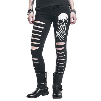 Hippie punk black women pants skull printed feet pancil trousers 2018 Summer ripped Elastic waist causal pants  WS8005y