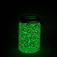 Hand Painted Glow in the Dark Vintage Mason Glass Canister Storage Jar