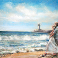 couple, beach, waves, romance, canvas print , 11x15