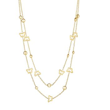 14K Yellow Gold 25-1mm Shiny+Diamond Cut Pebb le+Small Open Butterfly On Single Into Graduated D ouble Strand Cable Link Fancy Necklace with Lobste