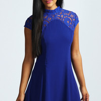 Edith High Neck Lace Capped Sleeve Swing Dress