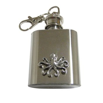 Silver Toned Textured Octopus 1 Oz. Stainless Steel Key Chain Flask