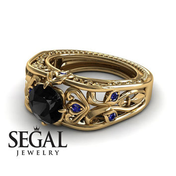 Unique Engagement Ring 14K Yellow Gold Art Deco Ring Filigree Ring Black Diamond With Sapphire - Skyler
