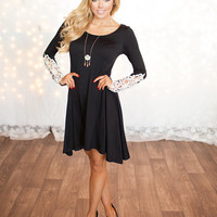 High Low Laced Dress Black