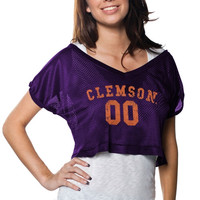 Clemson Tigers Ladies Cropped V-Neck Jersey - Purple