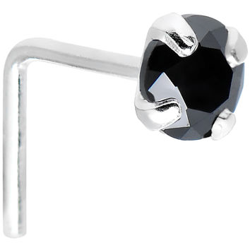 925 Sterling Silver 3mm Round Black CZ L-Shape Nose Ring