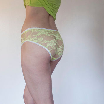 Splash. Neon Yellow Sheer Lace Panties. Playful Summer Lingerie