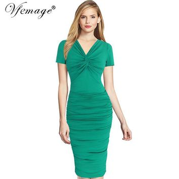Vfemage Women Elegant Ruched Twist Draped V-neck Vintage Casual Work Office Party Pinup Bodycon Fitted Wiggle Pencil Dress 6142