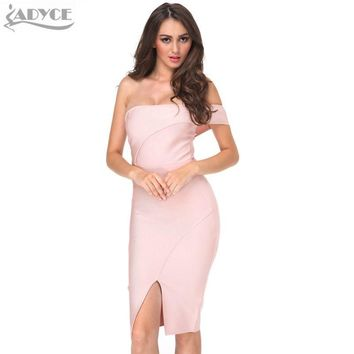 Nude Off Shoulder Knee-length Cut Luxury Sexy Cocktail dress