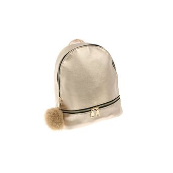 MY MALL METRO  Faux Leather Mini Backpack with Faux Fur Puff in Gold  Check Homepage for Promo Codes! <