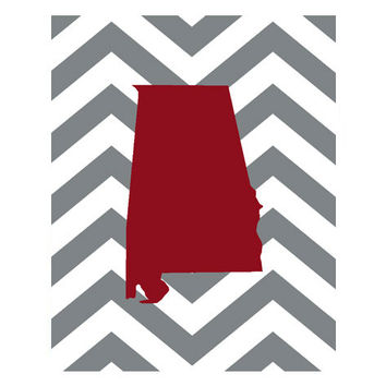 8x10 University of Alabama, Alabama football, Alabama pride, chevron print, hand drawn poster, college football