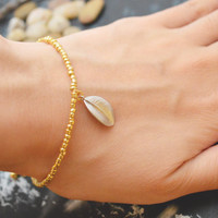C-049 Gold Beaded bracelet, Seed bead bracelet, Pendant Bracelet, Simple bracelet, Charm bracelet, Leaf bracelet/Everyday jewelry/