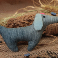 Denim handmade decorative toy in the form of dog for children nursery decor
