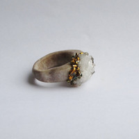 Carnival Glass Carved Antler Ring featuring Sugar Quartz Crystals by WhiteAether Size 5.5, 6, 6.5