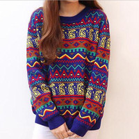 A 091029 Retro hit color stripe loose sweater