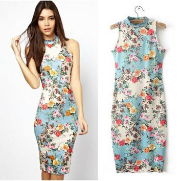 Floral Vintage Slim Women's Fashion Female One Piece Dress = 5826372417