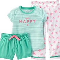 Carter's Little Girls' 3 Piece Graphic PJ Set (Toddler/Kid)-Happy