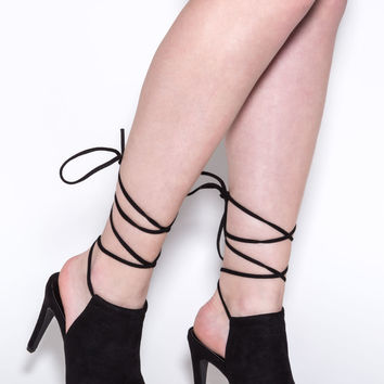 Meet Up Lace-Up Faux Suede Heels