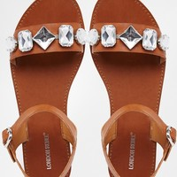 London Rebel Jewel Strap Flat Sandals at asos.com