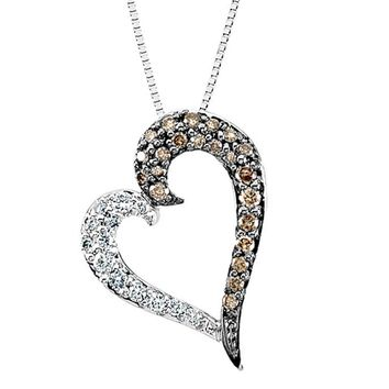 White and Brown Diamond Heart Necklace in 14k White Gold