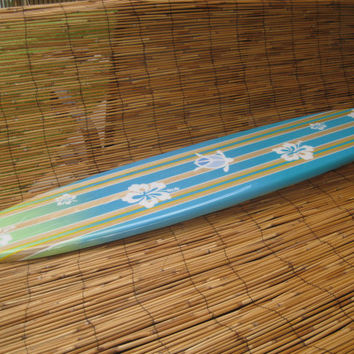 Wooden Decorative Surfboard Wall Hanging Surf Art  for a Surfer or Beach Themed Decor by Tiki Soul - 4 Sizes to Choose From
