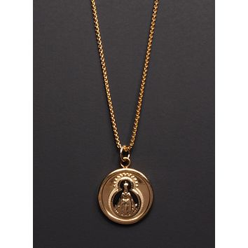 Gold Religious Medal Necklace