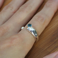 4mm Gemstone Neige Ring Sterling Silver Handmade to Order