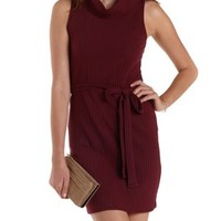 Burgundy Ribbed Cowl Neck Sleeveless Dress by Charlotte Russe