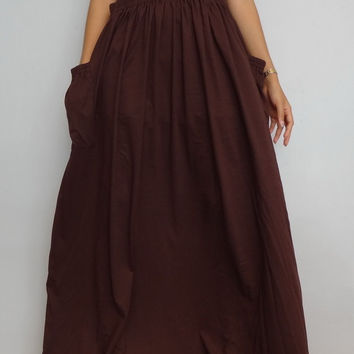 Women Brown Maxi Long Skirt , Casual Gypsy, Bohemian , Cotton Blend In Dark Chocolate (Skirt *M16).