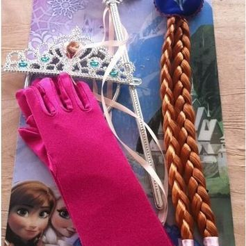 Cartoon Jewelry Elsa Anna Princess Crown Wig and Magic Wand and Gloves Girl&'s Gift