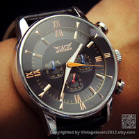 Mens Black Automatic Mechanical Leather Wrist Watch (WAT0154)