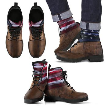 American Flag Wood Design Men's Leather Boots-FREE SHIPPING ANYWHERE