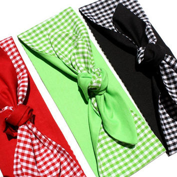 Vintage Inspired Head Scarf, Gingham, Red, Green, or Black, Rockabilly, Retro