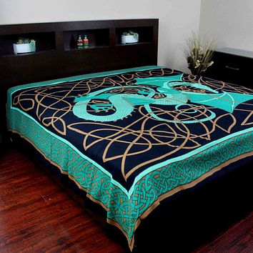 Handmade Cotton Celtic Dragon Tapestry Tablecloth Bedspread Twin Full Green