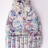 Missguided - Pom Pom Knitted Hat Speckled Multi