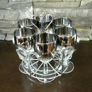 Wine Glasses, Mid Century Modern Barware, Vitreon Queen's Lusterware, Small Wine or Port Glass-Set of 6-in Chrome Caddy with Heart Shapes