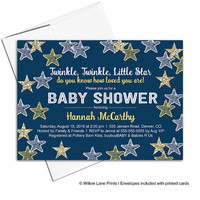 Yellow navy gold baby shower invitation neutral | twinkle twinkle little star invitation | baby shower invite printable - WLP00705