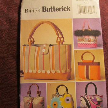 Sale Uncut 2005 Butterick Sewing Pattern, 4474! Handbags/Purses/Accessories/Arts & Crafts/Vintage Retro Style Bags/Fashion Designs