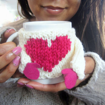 Coffee Cozy Sweater with Heart – Funny Valentine's Gift for Her – Coffee Cup Warmer – Knit Mug Warmer – Coffee Mug Cozy with Arms - Cute