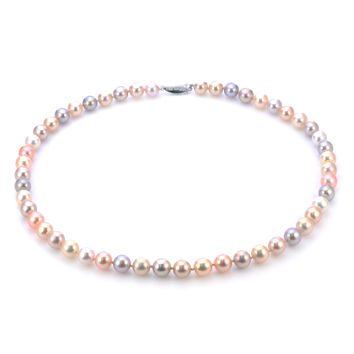 IMPERIAL PEARLS BY JOSH BAZAR: EIGHTEEN INCH 7.5-8.5MM METALLIC LUSTER NATURAL MULTI-COLOR FRESHWATER CULTURED PEARL STRAND NECKLACE