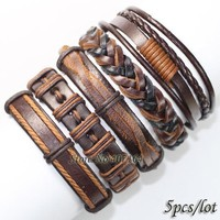 5pcs brown wrap real leather bracelet men friendship Bracelets bangles pulseira masculina mujer bracciale uomo
