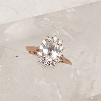 14k Rose Gold White Sapphire Diamond Cluster Engagement Ring Weddings Anniversary
