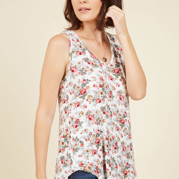 Infinite Options Tank Top in Ivory Floral | Mod Retro Vintage Short Sleeve Shirts | ModCloth.com