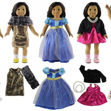 2018 New 5 Set Different Style Doll Clothes for 18'' American Girl Doll Handmade Princess Dress