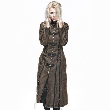 Punk Gothic Gorgeous Jackets Steampunk Coffee Spring Summer lapel Long Coats Outerwear