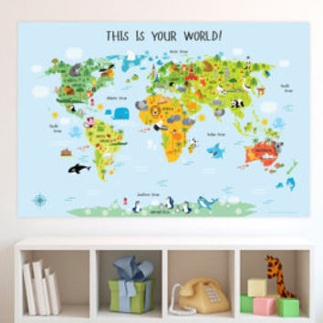 Childrens world map unique baby gifts from pictureta on etsy baby gift childrens world map kids gift unique baby gift nursery world gumiabroncs Images
