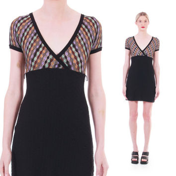 90s Vintage Missoni Mini Dress Made in Italy Black and Colorful Zig Zag Knit Fitted Short Boho Hipster Designer Clothing Womens Size Small