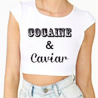 Cocaine and Caviar White Crop Top Graphic Shirt
