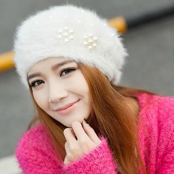 New Style Boina Feminina Women Pearl Beret Hats Rabbit Hair Knitted Female Berets Winter Warm Cap free shipping lowest price